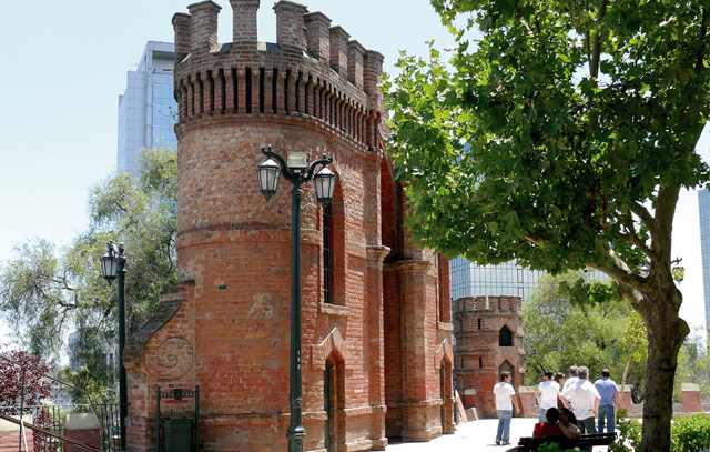 Reste der Festungsanlagen auf dem Cerro Santa Lucía im historischen Zentrum von Santiago de Chile