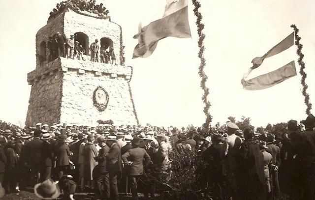 Feierliche Einweihung 1921 in Concepción: Auf dem Cerro Caracol errichtet die deutsch-chilenische Gemeinschaft den Bismarckturm.