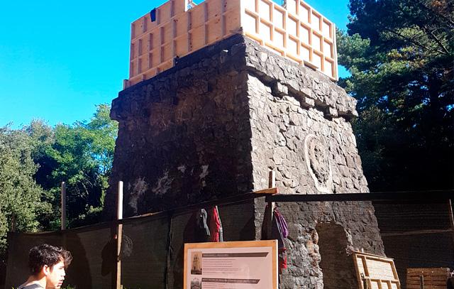 Der Bismarckturm in Concepción: Die Verschalung für das dritte Stockwerk wurde bereits angelegt.