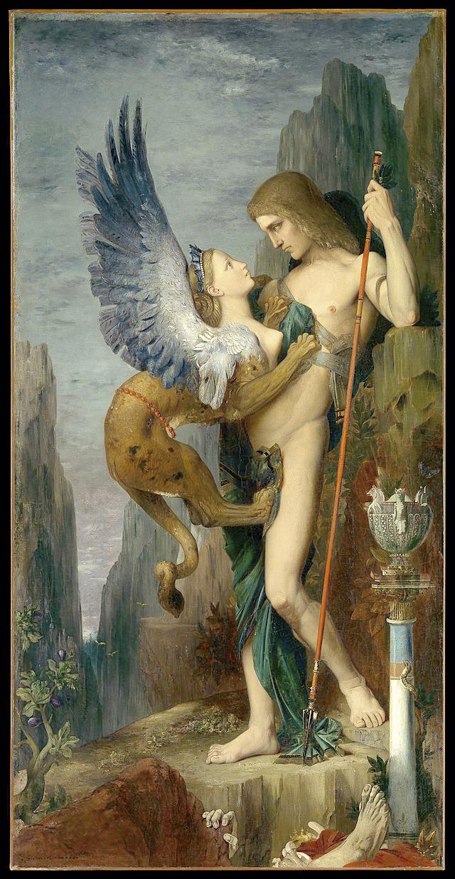 Ödipus und die Sphinx, Gemälde von Gustave Moreau. In der griechischen Mythologie tötete Ödipus seinen Vater, Laios. Die Sphinx gibt ihm seine Muttter Iokaste zur Frau.