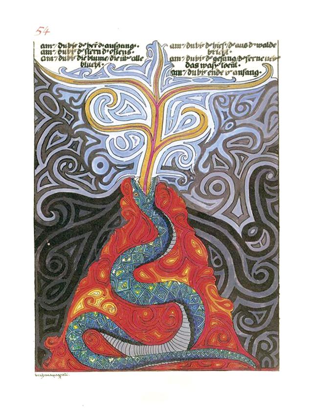 """Über Jahrzehnte malte und zeichnete Carl Gustav Jung archetypische Symbole in rot eingebundenen Kladden. 50 Jahre nach seinem Tod wurden die eindrucksvollen Zeichnungen im """"Roten Buch"""" veröffentlicht."""