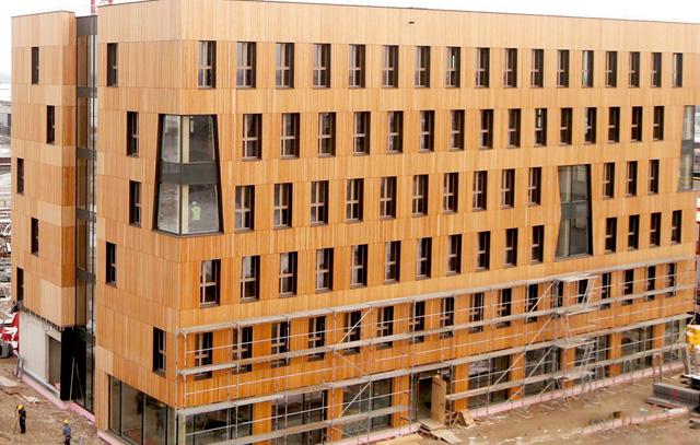 Aufnahme von den Bauarbeiten an einem Teil des Holzhochhauses in Wien