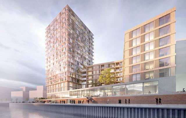 Virtuelle Darstellung des Hoho Wien: Mit 84 Metern Höhe wird bis Anfang 2019 das weltweit höchste Holzhaus in der Seestadt Aspern bei Wien entstehen.