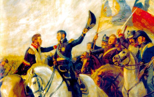 Die Schlacht von Maipú am 5. April 1818:  Das Gemälde zeigt links Bernardo O´Higgins und rechts José de San Martín, der aus Argentinien seine Armee über die Anden geführt hatte. Gemeinsam besiegten sie die spanischen Royalisten.