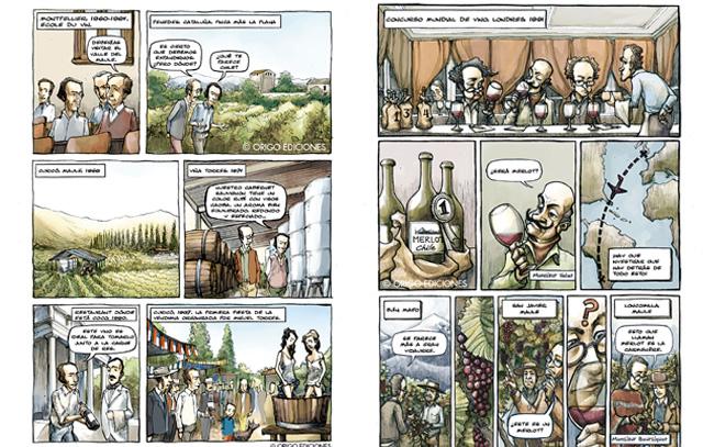 Illustrationen aus dem Buch «El vino de Chile» : Links Miguel Torres und dessen Weinproduktion in Chile, rechts die «Entdeckung» der Traubensorte Carmenère in Chile