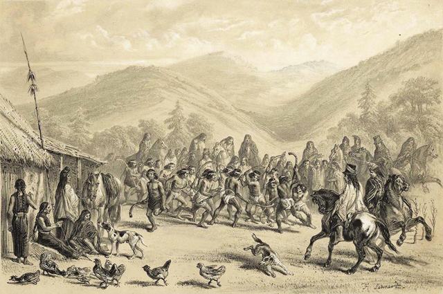 Das traditionelle Hockeyspiel Palín oder auch Chueca der Mapuche. Quelle: Claudio Gay, 1854, Biblioteca Nacional de Chile