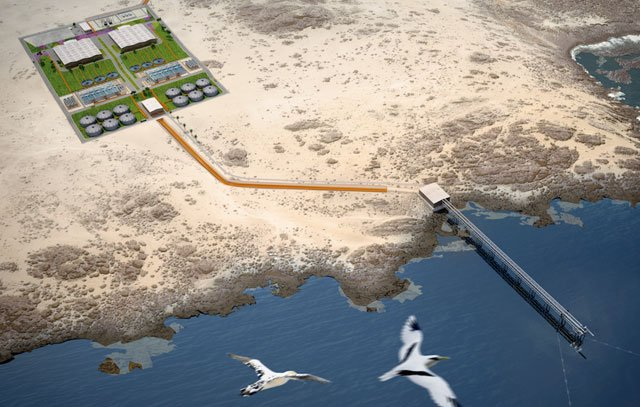 Dreidimensionale Darstellung der zukünftigen Meerwasserentsalzungsanlage