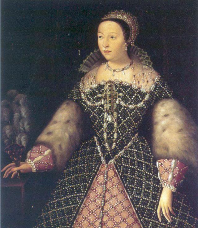 Katharina von Medici wurde am 13. Abril 1519 als Tochter einer der einflussreichsten Familien der Renaissance in Florenz geboren. Als regierende katholische Königinmutter von Frankreich hatte sie die politischen Zügel in der Hand. Das Massaker der Bartholomäusnacht, bei dem Tausende von Hugenotten zu Tode kamen, wird ihr zugeschrieben.
