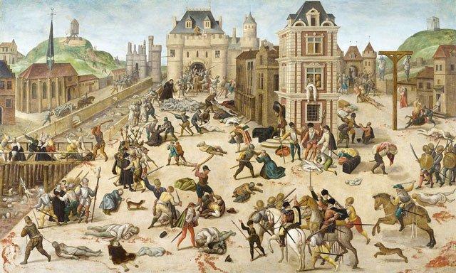 Massaker der Bartholomäusnacht  Am Fest des Heiligen Bartholomäus kam es 1572 zu einem Massaker, dem in Paris etwa 3.000 und auf dem Land mehr als 10.000 Hugenotten zum Opfer fielen.