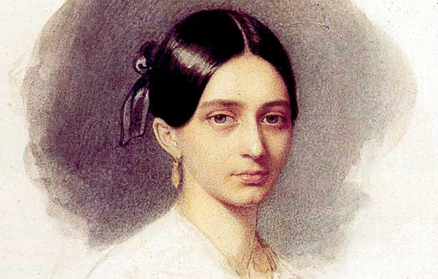 Clara Wieck im kurz vor ihrer Heirat (1840)