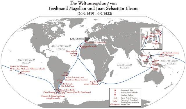 Karte Weltumsegelung und Magellanstraße