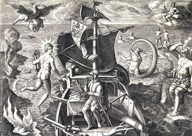 Magellan Darstellung Magellanstraße und Feuerland mit Patagonien